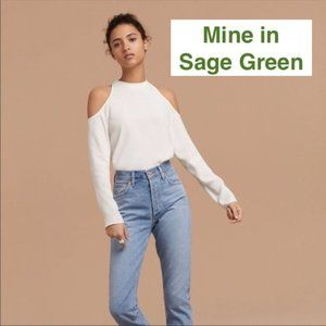 Aritzia Wilfred Free Mccall Cold Shoulder Blouse, Size S, Sage Green